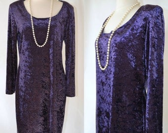 1980s Deep Purple Crushed Velvet Dress by Molly Malloy, Scoop Neck, Holiday Party Dress