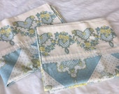 Vintage Pillowcase Set, Blue and Yellow Floral, 1980s