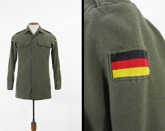 Vintage German Military Shirt Olive Drab Green Button Up with Patches - Men's Small