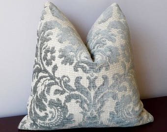 Floral Damask Decorative Throw Pillow, Elegant Chenille Pillow Cover, Woven, Silver Grey Designer Pillow, Classic Damask