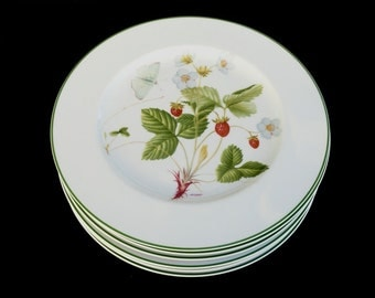 Philippe Deshoulieres Limoges Edition Lourioux France Wildfowers Porcelain Botanical Dinner Plates Set of 6 Vintage