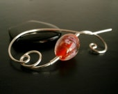 Shawl Pin, Scarf Pin, Silver brooch, Lampwork bead Brooch, knitters jewelry, Wire Wrapped Jewelry