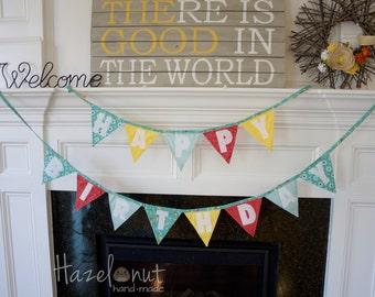 Fabric Happy Birthday Banner-Flag Bunting Decoration-Teal, Aqua, Yellow, and Red Birthday Decor