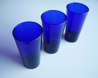 Vintage, Cobalt Blue, Tumblers, Drinking Glasses, Libbey, Set of 3, Barware, Plain, Minimal, Cobalt Glass, Gift under 30, Blue Tableware