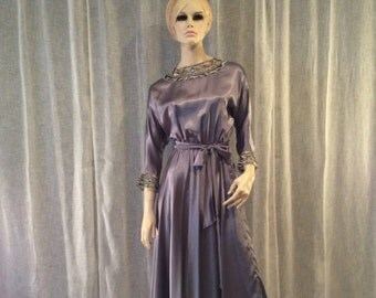 Vintage Eighties Mauve and Silver Satin Evening Dress, Vintage Mother of the Bride Dress