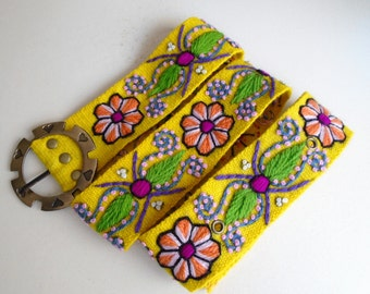 "Handmade Embroidered women's belt size 32"" to 41"" in yellow, organic fashion 2017"