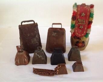 Vintage Cowbells, Rustic, Primitive Cowbells or Sheepbells, Handforged Metal - Destash Lot of Cowbells - Set of 9