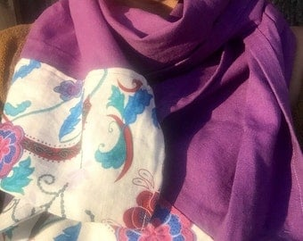 Paisley Violet Pure Linen Scarf/Wrap/Shawl