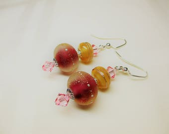 Round Lampwork Earrings in Pink and Gold