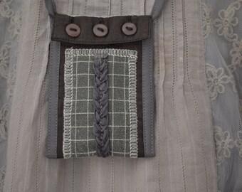 Necklace Textile art Mini Pouch Secret Bohemian necklace hippie Handmade Pendant Jewelry textile Idea gift