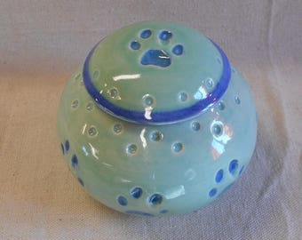 Cat Paw Cat Urn, Real Cat Paw - Light Aqua Blue with Mottled Blue on the Inside