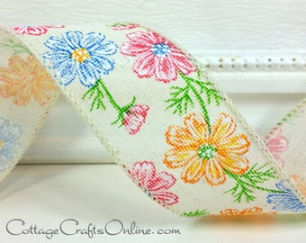 """Wired Ribbon, 1 1/2"""", Orange, Blue, Pink Daisy Floral Print - THREE YARDS - Offray """"Daria"""" Linen Look, Hopsack, Flower Wire Edged Ribbon"""
