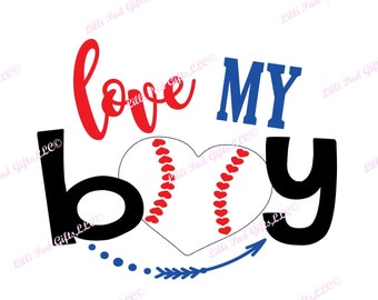 love MY boy-baseball heart - Cut File - Instant Download - SVG and DXF for Silhouette Studio & other Cut Machines