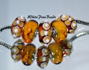 Gold and Amber Classic Combination  Handmade Murano Glass Lampwork Beads  5 PC Set    for European Style Charm Bracelets WhitePineBeads