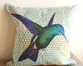 COZY DECEMBER SALE Home Decor Pillow - Modern Hummingbird 1 - 18 x 18 - Cottage Style - Country Living - Hummingbird Pillow