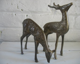 Vintage Brass Deer - Buck - Doe