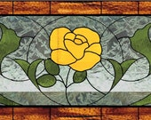Custom listing for ER yellow rose stained glass panel 29 1/4 x 14