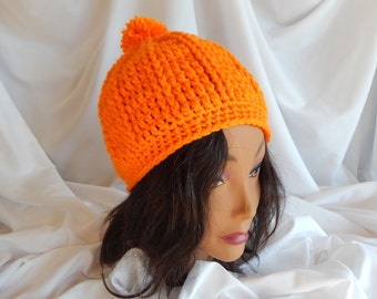 Crochet Pom Pom Hat Beanie - Orange - Woman's Fashion Hat