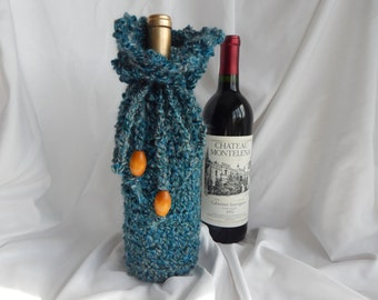 Crochet Wine Bottle Cover Cozy Gift Wrap - Fuzzy Dark Teal and Gray with Large Wood Beads