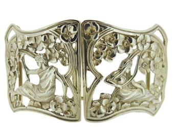 Art Nouveau Silver Buckle, Hallmarked Birmingham 1902