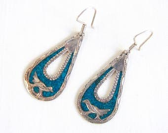 Mexican Bird Dangle Earrings Vintage Turquoise and Sterling Silver Drop Dangles Etched Boho Folk Jewelry Taxco Mexico