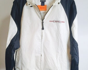 Vintage Chaps Ralph Lauren Navy / White Spell-Out Windbreaker (Size M)