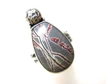 I See Something Comin - primitive organic slate blue purple white Sonoran dendritic rhyolite stone, granule, sterling silver metalwork ring
