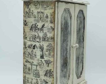 Vintage Jewelry Box, jewelry storage, decoupage, shabby chic, toile patterned, toile and harlequin