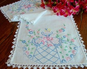Southern Belle Dresser Scarf Pink and Blue Embroidered Table Runner Vintage Table Linens