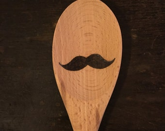 Wooden Spoon Silly Faces - Bandwagon Moustache - Pyrography