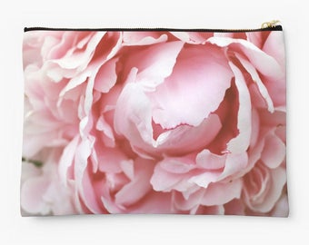 Peony Zippered Pouch, Floral Makeup Bag, Photo Pouch, Floral Accessory Bag, large zipper pouch, small zipper pouch, travel pouch
