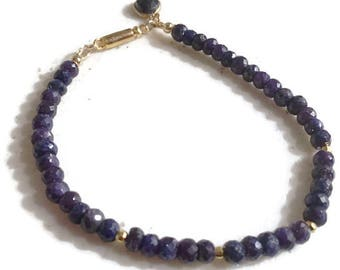 Sapphire Bracelet - Navy Blue Jewellery - September Birthstone Jewelry - Gold - Charm