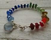 Rainbow Sea Glass Sterling Silver Bracelet