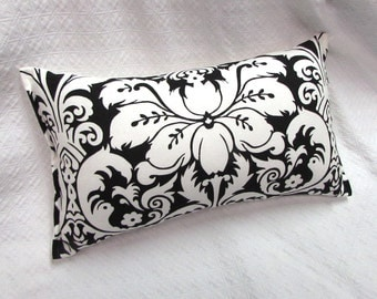 black white damask Lumbar Pillow 10x19 decorative throw toss accent