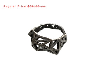 SALE statement ring - Slim Triangulated Ring in Dark Steel. 3d printed, geometric triangle jewelry, modern statement jewelry
