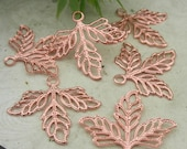 10%off: 20 Pcs Rose Gold Leaves Charm,Nickel Free 23x25mm