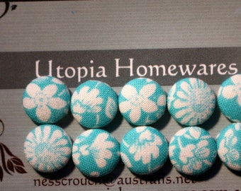 Aqua Floral Fabric Covered Buttons