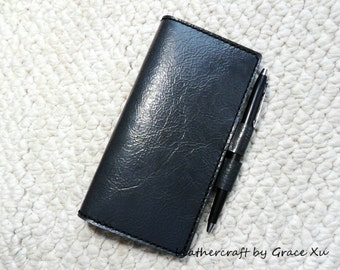 100% hand stitched handmade patent dark gray cowhide leather checkbook cover