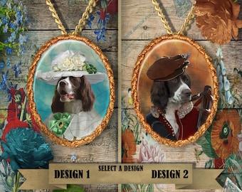 French Spaniel Jewelry.French Spaniel Pendant or Brooch.French Spaniel Necklace.French Spaniel Portrait.Custom Dog Jewelry.Handmade Jewelry