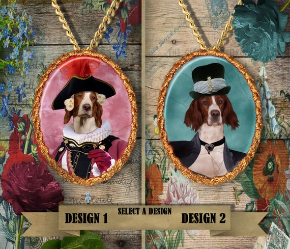 Irish Red and White Setter Jewelry. Setter Pendant or Brooch. Setter Necklace. Setter Portrait. Custom Dog Jewelry .Handmade Jewelry