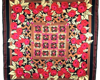 Vintage Large Silk Scarf Foulard, Huali, Red and Pink Roses with a Black Border