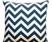 SALE Chevron Pillow, Navy Blue and White Zig Zag Pillow Cover, Navy Pillow Case, Blue Bed Pillows, Couch Pillow, Zippered Pillow, Nautical D