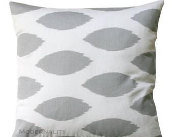 SALE Ikat Pillow, Chipper Storm Grey Pillow Cover, Zippered Pillow, Gray Cushion Cover, Living Room Pillows, Bed Pillows, Grey Ikat Decor, C