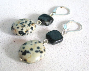 Black Earthtone Stone earrings Dalmation Amimal print Jasper Casual Style sterling silver lever back casual funky and fun handmade jewelry