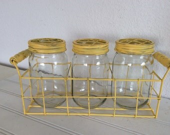 Divided Metal Basket - Painted Yellow Distressed - Mason Jar Vases - Centerpiece - Rustic - French Country - Farmhouse - Shabby Cottage Chic