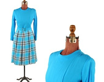 Vintage 1960's Sky Blue Linen Preppy Plaid Box Pleated Mod Retro Long Sleeve Dress M