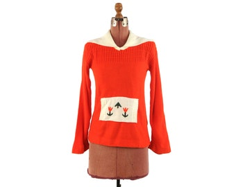 Vintage 1970's Bright Red Acrylic Knit Sailor Collar Kitsch Floral Retro Pull Over Sweater M