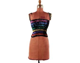 Vintage 1970's Soft Black Sheer Knit Rainbow Metallic Sequin Retro Disco Stretchy Tube Crop Top S M