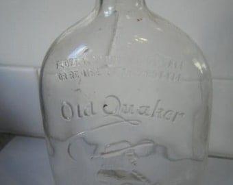 Vintage Old Quaker Glass Whisky Bottle