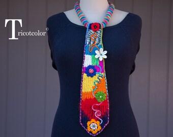 Cravate femme tricot laine accessoire mode tricotcolor